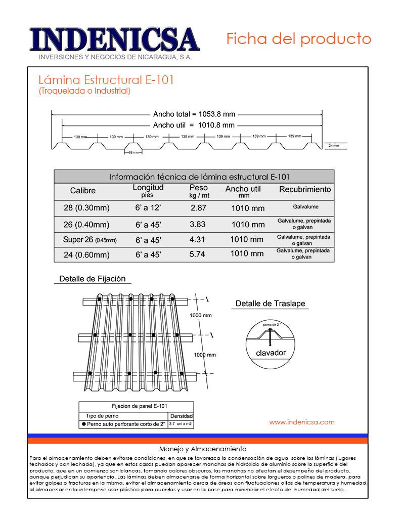 Lámina Estructural Galvanizada E-76, E-105, E-71, E-101 ...